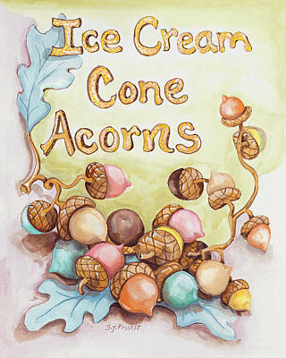 Painting - Ice Cream Corn Acorns by Sheri Jo Posselt