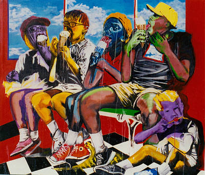 Painting - Ice Cream Eaters by Michael  Singletary