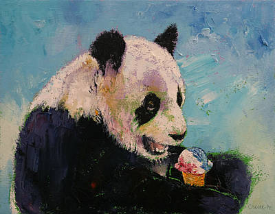 Panda Bear Painting - Ice Cream by Michael Creese