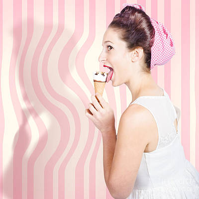Photograph - Ice Cream Pin-up Poster Girl Licking Waffle Cone by Jorgo Photography - Wall Art Gallery
