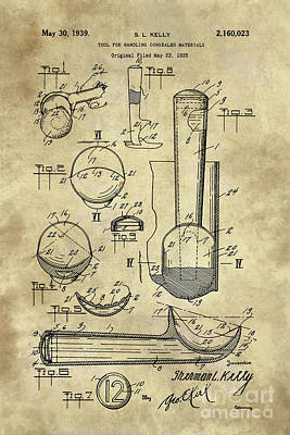Scoop Painting - Ice Cream Scoop Antique Blueprint Patent Drawing 1939 Kitchen Art by Tina Lavoie