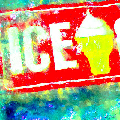 Photograph - Ice Cream Sign Abstract by Tony Grider