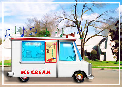 Computer Art Painting - Ice Cream Truck In The Street by Elaine Plesser