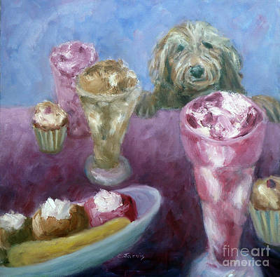 Painting - Ice Cream With Dog by Carolyn Jarvis