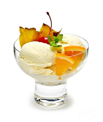 Sorbet Photograph - Ice Cream With Fruit by Elena Elisseeva