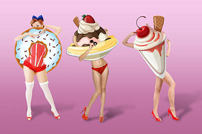 Strawberries Digital Art - Ice Cream Woman 4 by Mark Ashkenazi