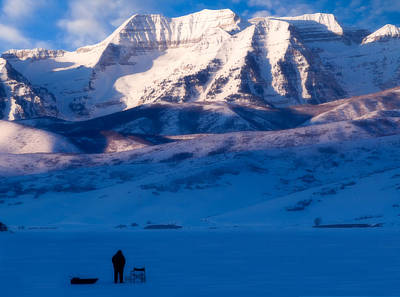 Snowy Mountain Loop Photograph - Ice Fisherman On A Winter Morning by Utah Images