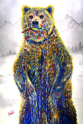 Kodiak Bear Painting - Ice Fishin by Teshia Art