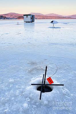 Photograph - Ice Fishing At Dawn, Wilton, Maine  -88139-88140 by John Bald