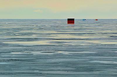 Digital Art - Ice Fishing Huts  by Lyle Crump