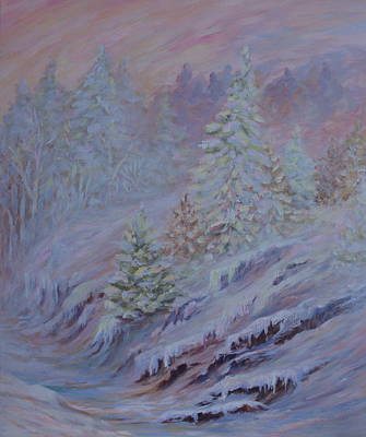Ice Fog In The Forest Art Print