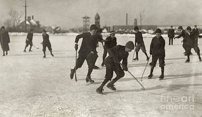 Pond Hockey Photograph - Ice Hockey 1912 by Granger