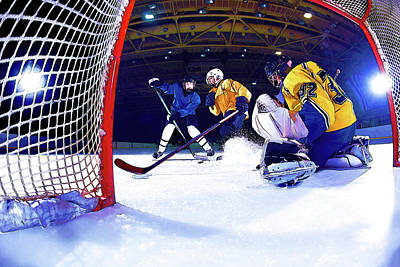 Hockey Games Painting - Ice Hockey Battle Through The Cage by Elaine Plesser