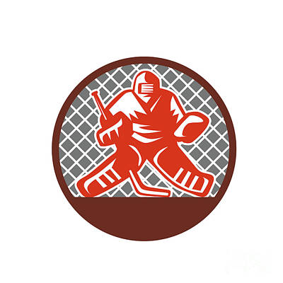 Ice Hockey Goalie Circle Retro Art Print