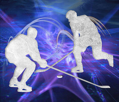 Hockey Painting - Ice Hockey Players Fighting For The Puck by Elaine Plesser