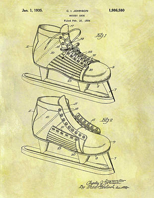 Nhl Hockey Drawing - Ice Hockey Skates Patent Image by Dan Sproul