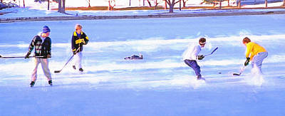 Pond Hockey Mixed Media - Ice Hockey - Two On Two by Steve Ohlsen