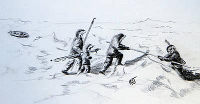 Inuit Drawing - Ice Hunters by Rhonda Shelford Jansen  - RSJ