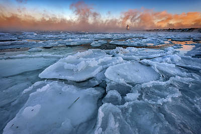 Photograph - Ice In Portland Harbor by Rick Berk