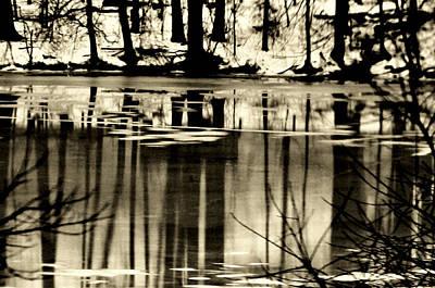 Yellowstone Digital Art - Ice Lake Reflections by Aron Chervin