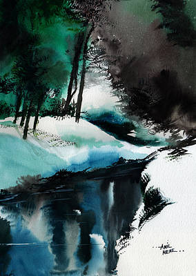 Beautiful Scenery Painting - Ice Land by Anil Nene