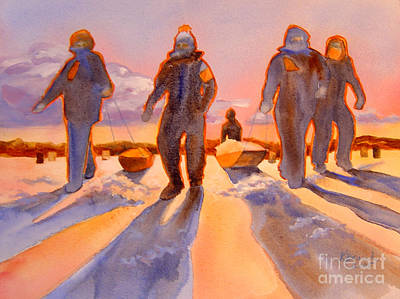 Ice Men Come Home Print by Kathy Braud