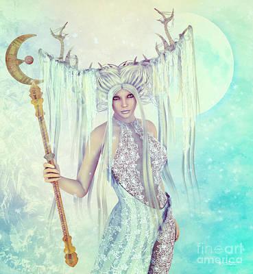 Digital Art - Ice Moon Princess by Jutta Maria Pusl