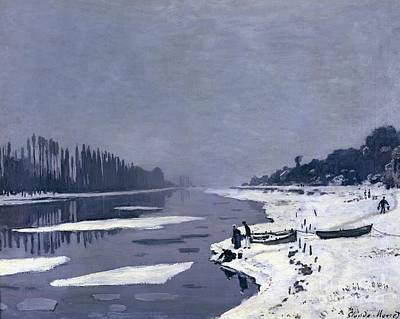 Snow Scene Painting - Ice On The Seine At Bougival by Claude Monet