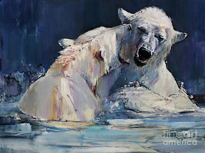 Bear Painting - Ice Play by Mark Adlington