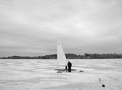 Ice Sailing Father And Daughter Art Print