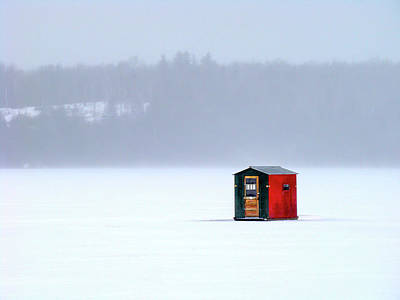 Photograph - Ice Shanty On Lake Willoughby by Tim Kirchoff