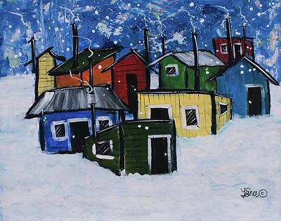 Painting - Ice Shantys by Terri Einer