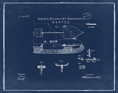 Figure Skate Photograph - Ice Skate Patent 1867 Blue by Bill Cannon