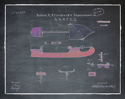Figure Skate Photograph - Ice Skate Patent 1867 Chalk by Bill Cannon