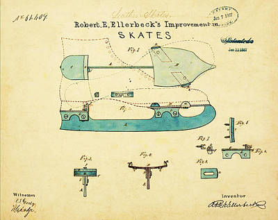 Figure Skate Photograph - Ice Skate Patent 1867 by Bill Cannon