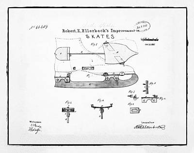 Figure Skate Photograph - Ice Skate Patent 1867 White by Bill Cannon