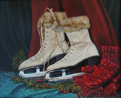Winter Sports Painting - Ice Skates And Mittens by Patty Kay Hall