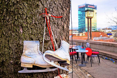 Photograph - Ice Skates On The Tree Christmas Decorationin Zagreb Advent Mark by Brch Photography