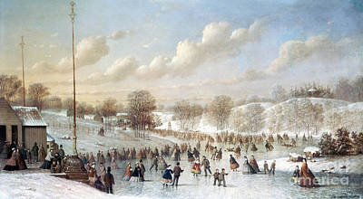 Snow Sports Painting - Ice Skating, 1865 by Granger