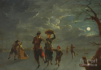 Skating Painting - Ice Skating By Moonlight  by Franz Ferg