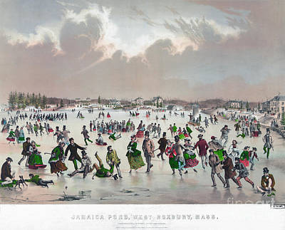 Ice Fishing Painting - Ice Skating, C1859 by Granger