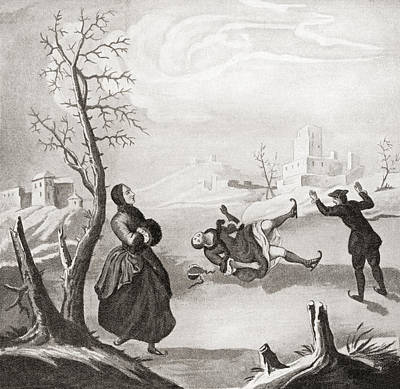 Ice Skating In The 18th Century. From Art Print by Vintage Design Pics