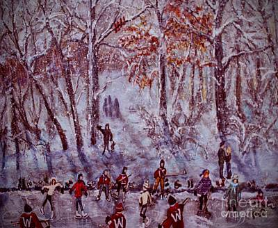 Painting - Ice Skating On Hardy Pond by Rita Brown