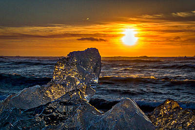 Photograph - Iceberg At Sunrise #3 - Iceland by Stuart Litoff