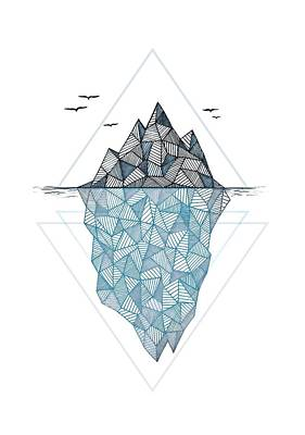 Mountains Drawing - Iceberg by Barlena