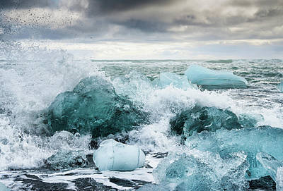 Photograph - Icebergs And Crashing Waves In Iceland by Matthias Hauser