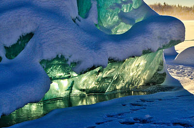 Photograph - Iceberg's Glow Detail - Mendenhall Glacier by Cathy Mahnke