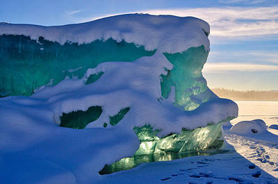Iceberg's Glow - Mendenhall Glacier Art Print by Cathy Mahnke