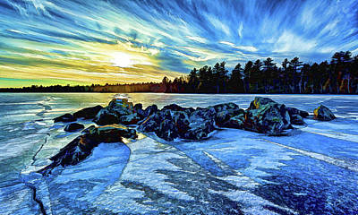 Digitally Manipulated Photograph - Icebound 5 by ABeautifulSky Photography by Bill Caldwell