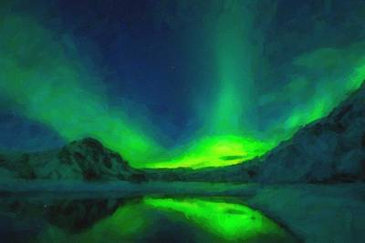Park Scene Painting - Iceland Aurora Borealis Northern Lights by Celestial Images